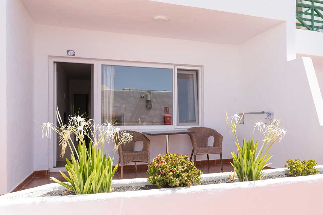 Gardens in terrace of 1 Bedroom Standard Apartment.
